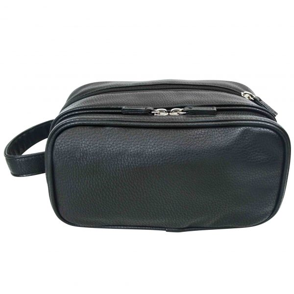 Mister deluxe black double zip wash bag