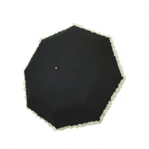 Black with cream frill compact umbrella