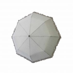 Grey polka compact umbrella