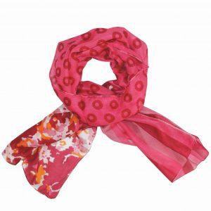Fuschia flower stripe silk scarf
