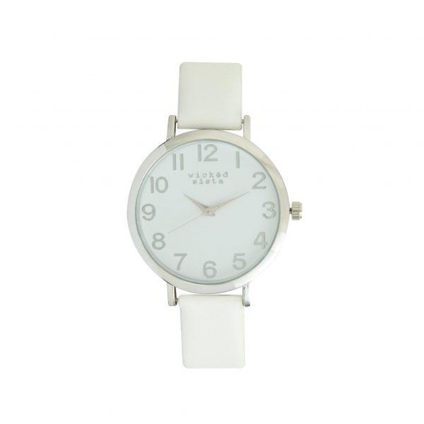 White & silver watch
